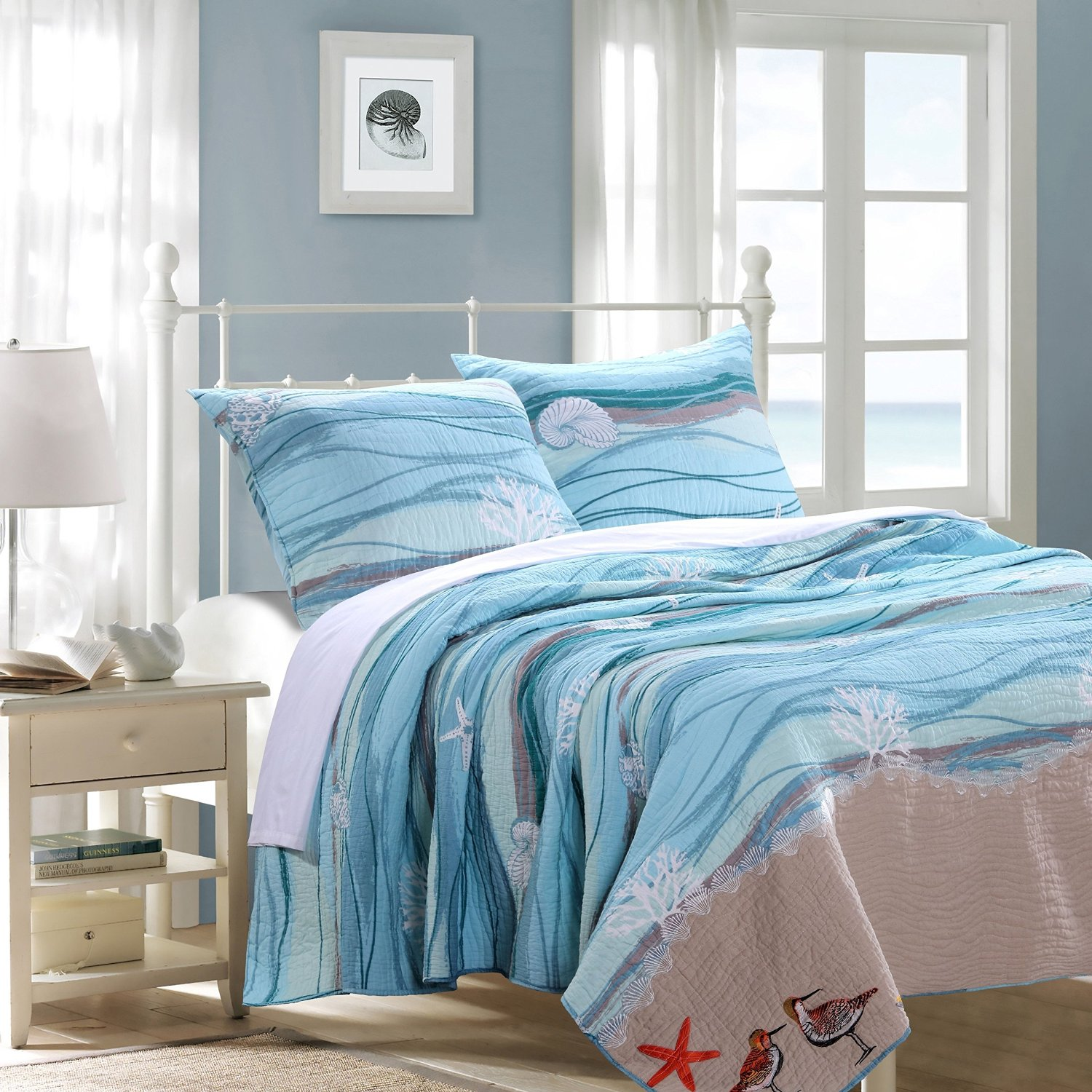 GHF 3 Piece King Ocean Themed Quilt Set, Coastal Sea Blue Beach Bedding, Turquoise Wave Pattern, Embroidered Seashells, Corals, Shore Birds, Sand Brown, Beautiful Design