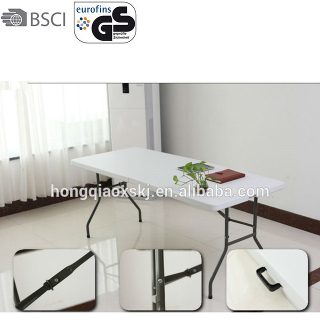 Hot White 6ft Large Trestle Table Foldable With Plastic Top For Classroom  With Table Cloth