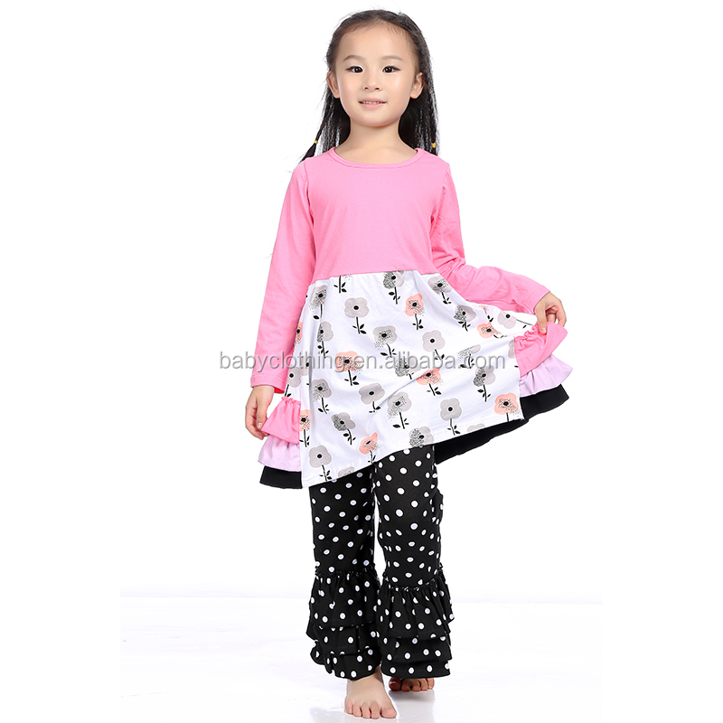 kid clothing fall long sleeve floral children boutique clothes