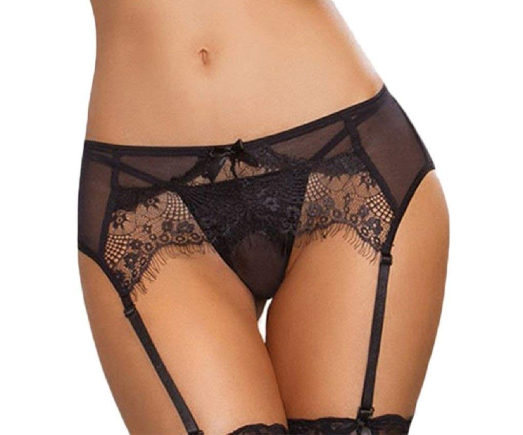 Sexy Women Black/Red or Black Sexy Transparent Lace Garter and G String Panty-One Size (Black and Red)Perfect for Weddings/Anniversaries/Holidays/Valentines (XXL, Black)