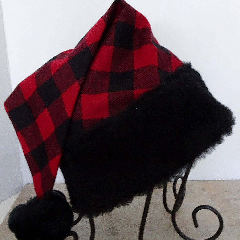 2f0b73338139e Bad Santa Black Trim Red and Black Buffalo Check Santa Hat