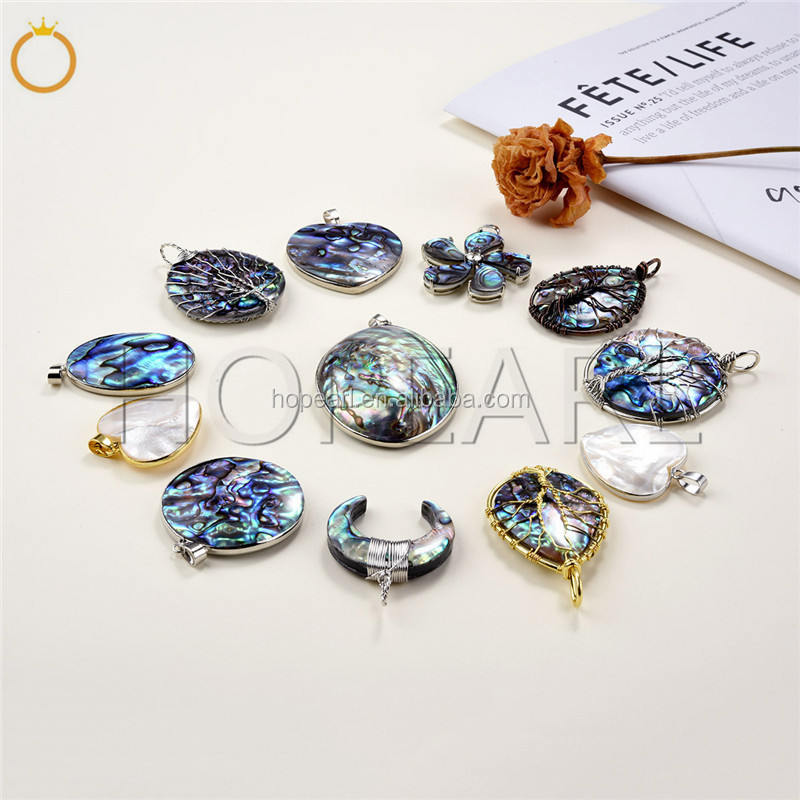 MOP17 Heart Paua Shell Handmade Accessories Mosaic Checkered Abalone Shell Bohemian Pendant