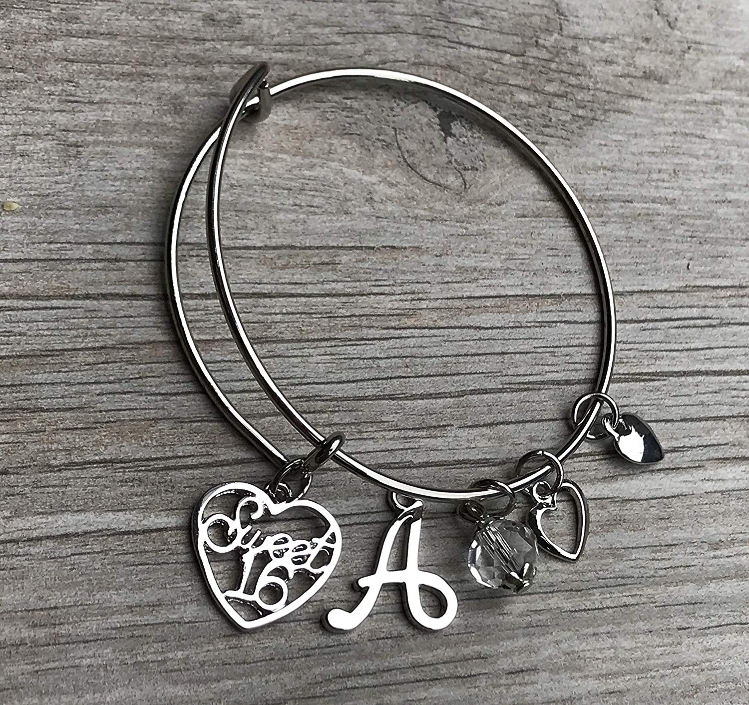 Get Quotations Personalized Sweet 16 Charm Bangle Bracelet With Letter Custom Six Jewelry Birthday Gift