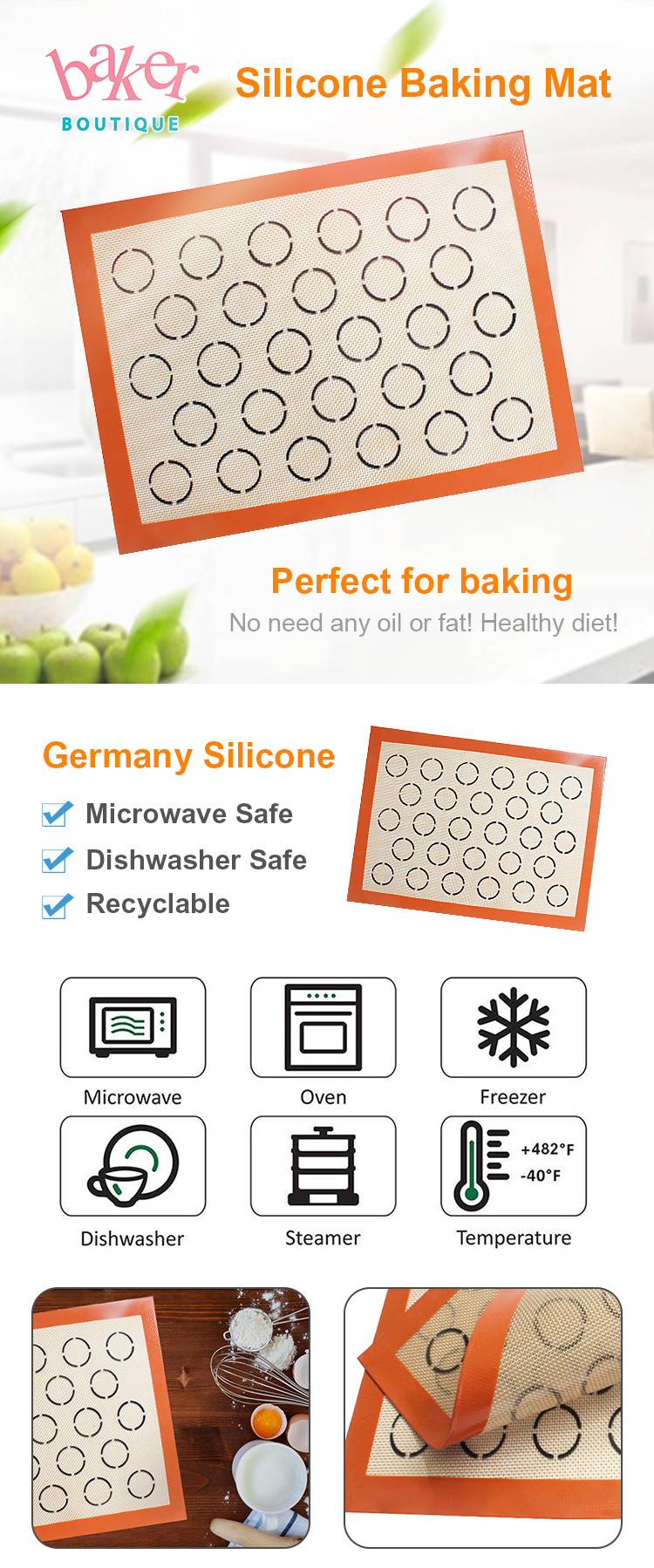 Germany Liquid Silicone Fiberglass Silicone Macaroon Cookie Baking Sheet Mat