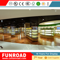 Customized wooden cosmetic wall display rack showcase for store with high end quality
