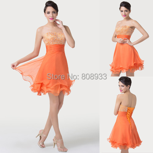 New 2015 Fashion Cheap Chiffon Bridesmaid Dresses Slim Short Party Sequins Cocktail Dress Lovely Beaded Prom Mini Dresses 6196