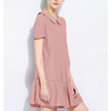 women dresses wholesale peter-pan pink dress with frill hem for women