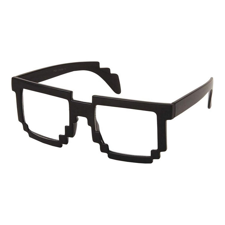 db32433e0842 Get Quotations · RETRO 8-Bit Geek Nerd Pixel Unisex Square Frame Clear Lens  Eye Glasses BLACK .