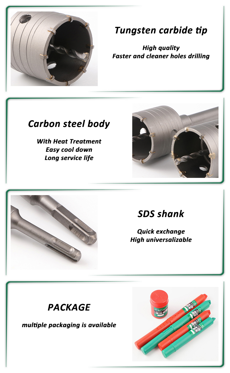 30-160mm TCT tungsten carbide Concrete Wall Core drill bit with SDS-PLUS SDS-MAX or HEX Shank