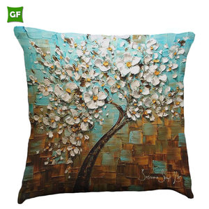 Square 3D Oil Painting Life Tree Printed Sofa Decor Backrest Cushion