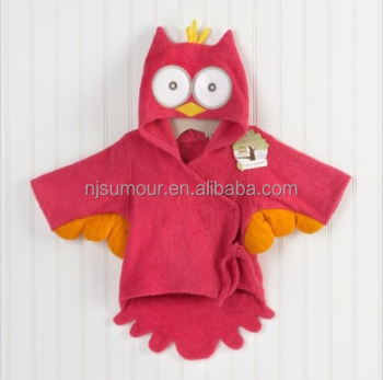 Red Owl Baby Boy Dressing Gown Splash Wrap Bath Hooded Towel Robe 0 ...