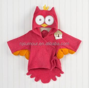 Red Owl Baby Boy Dressing Gown Splash Wrap Bath Hooded Towel Robe 0