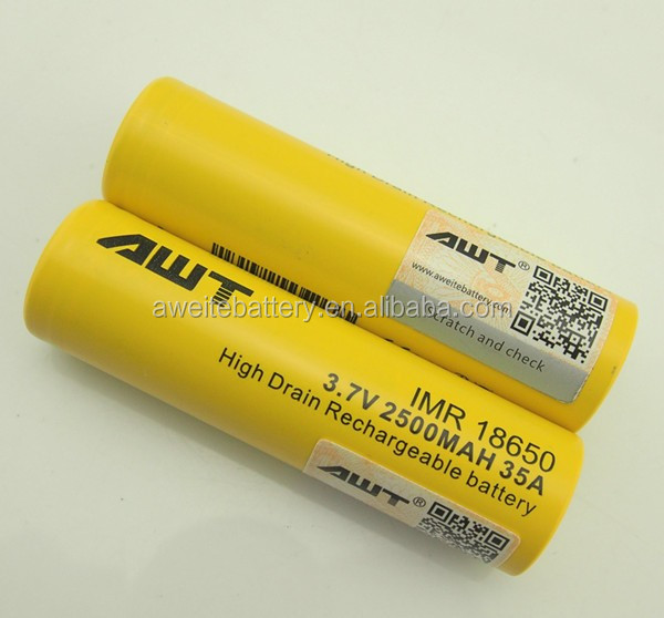 Authentic Awt 18650 3.7v Battery 2500mah 26350 Lithium Ion Battery ...