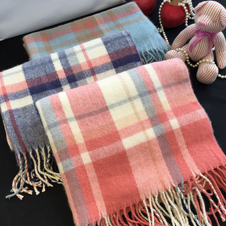 200*70 cashmere smooth soft assorted checked fringed stole cashmere shawl <strong>scarf</strong> for wholesale