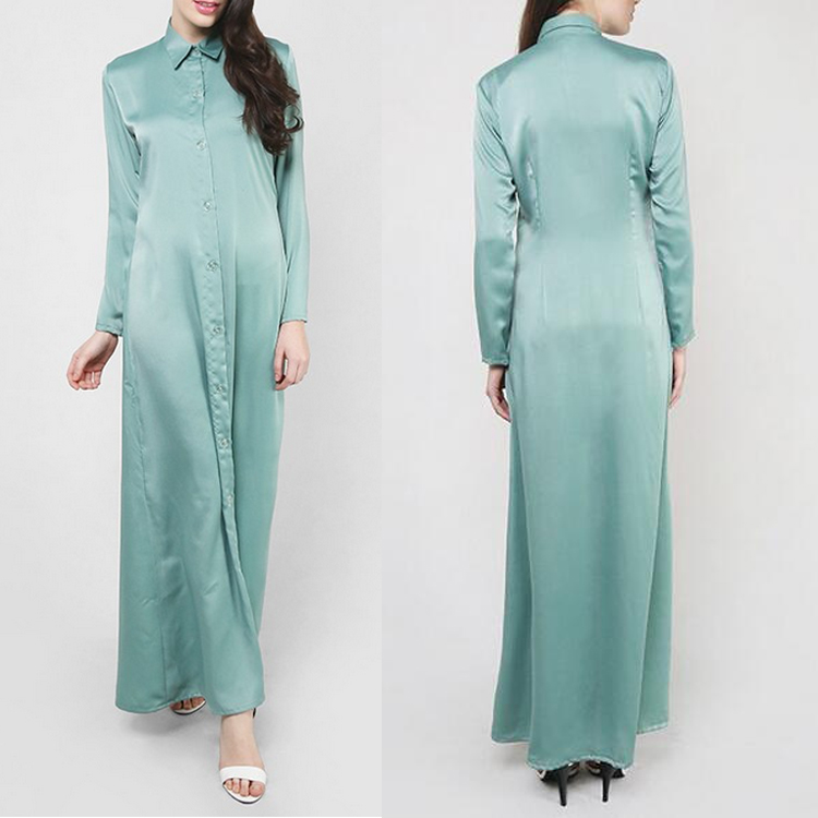 Fashion long sleeve blouse tunic muslim shirt dress for women