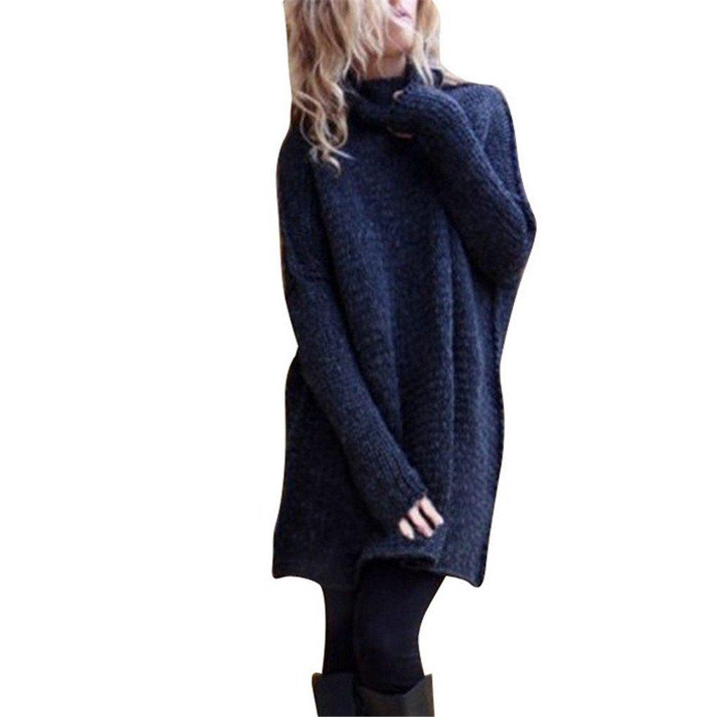 Women Blouse,Haoricu Fall Winter Women Loose Oversize Knit Sweater Jumper Shirt Tops Blouse Casual (M, Navy)