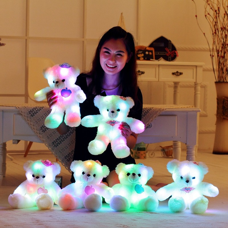 38cm LED Night Light Luminous Teddy Bear Cute Shining Bear Plush Toys Baby Toys Birthday Gifts Valentines stuffed <strong>animal</strong>