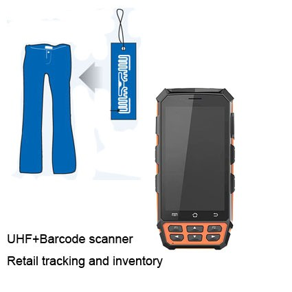 Handheld mobile android 1m middle range uhf bluetooth rfid reader
