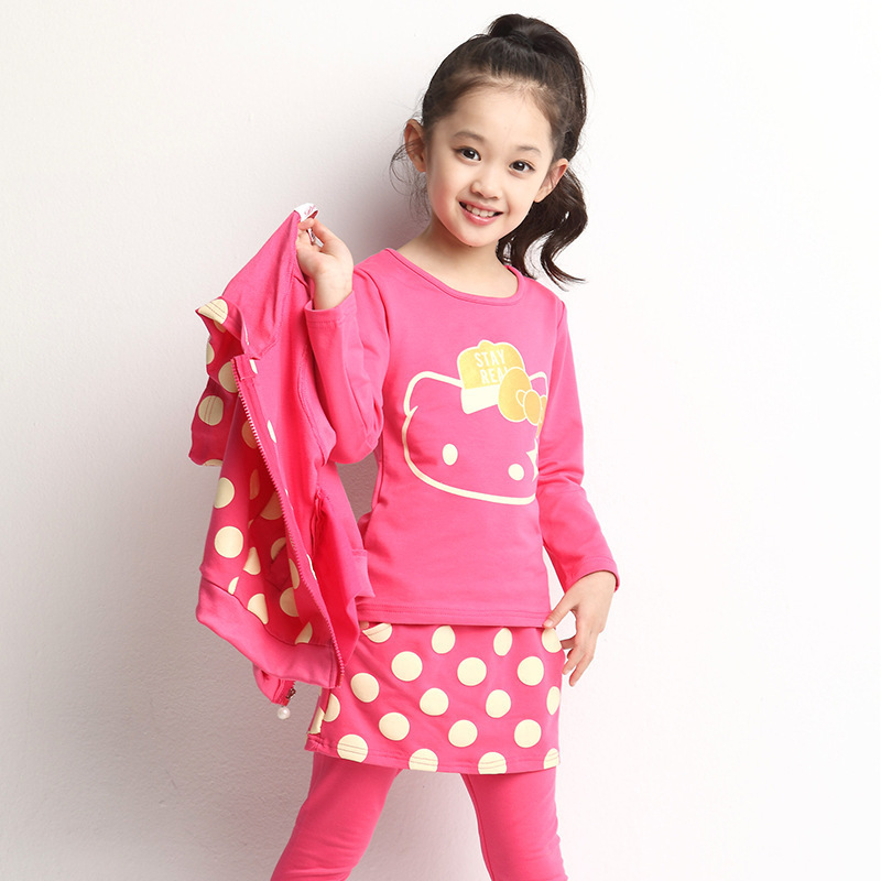 629414a95 Buy Cute Comfortable Children Girls Outfits Spring And Autumn Big Dot Hello  Kitty Pattern Three-piece Suit 080405 in Cheap Price on m.alibaba.com