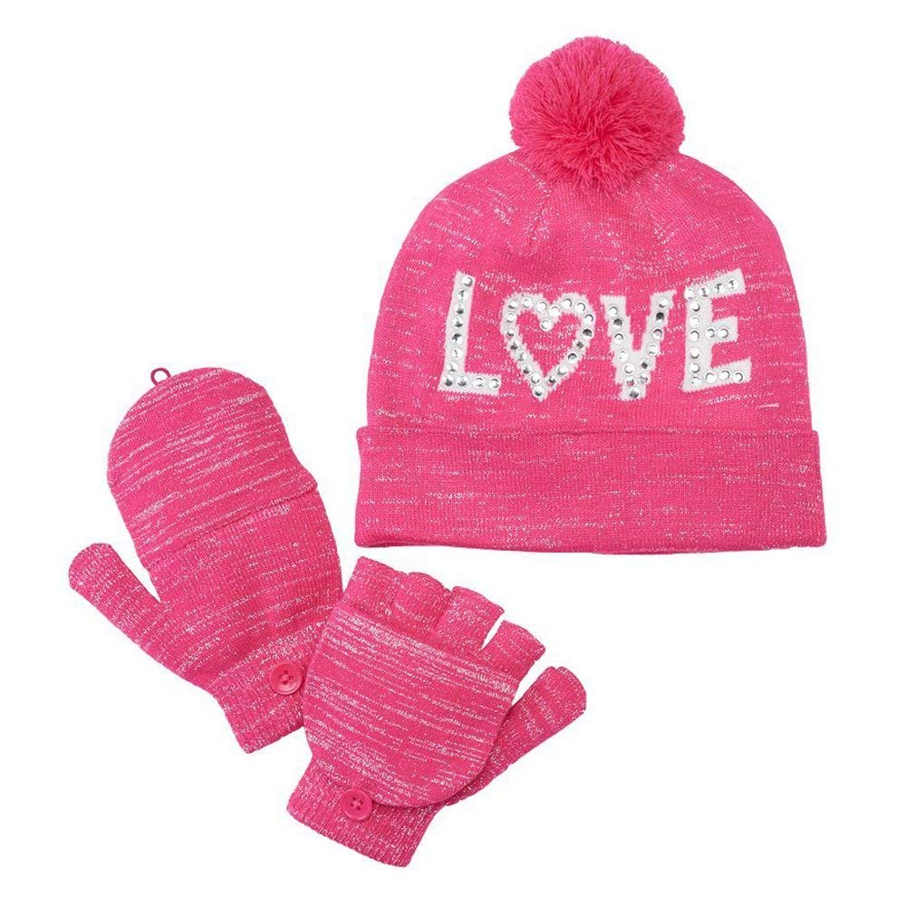 2092e2d71920a Get Quotations · Girls 4-16 SO Sparkly Hat   Convertible Mittens Set
