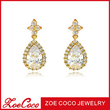 18K gold plated jewelry dubai gold earring stud with crystal new design gold earrings hanging water drop earring stud