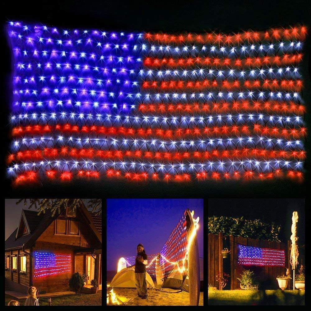 Get Quotations Le Star American Flag 420 Led String Lights Large Usa Outdoor Waterproof Hanging Ornaments