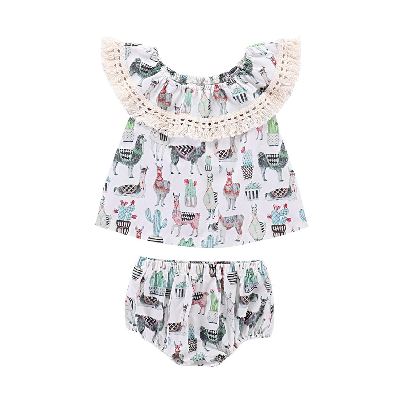 oldeagle Newborn Infant Fashion Baby Girl A-Line Floral Romper Princess Dress+Headband 2PCs Outfit Set