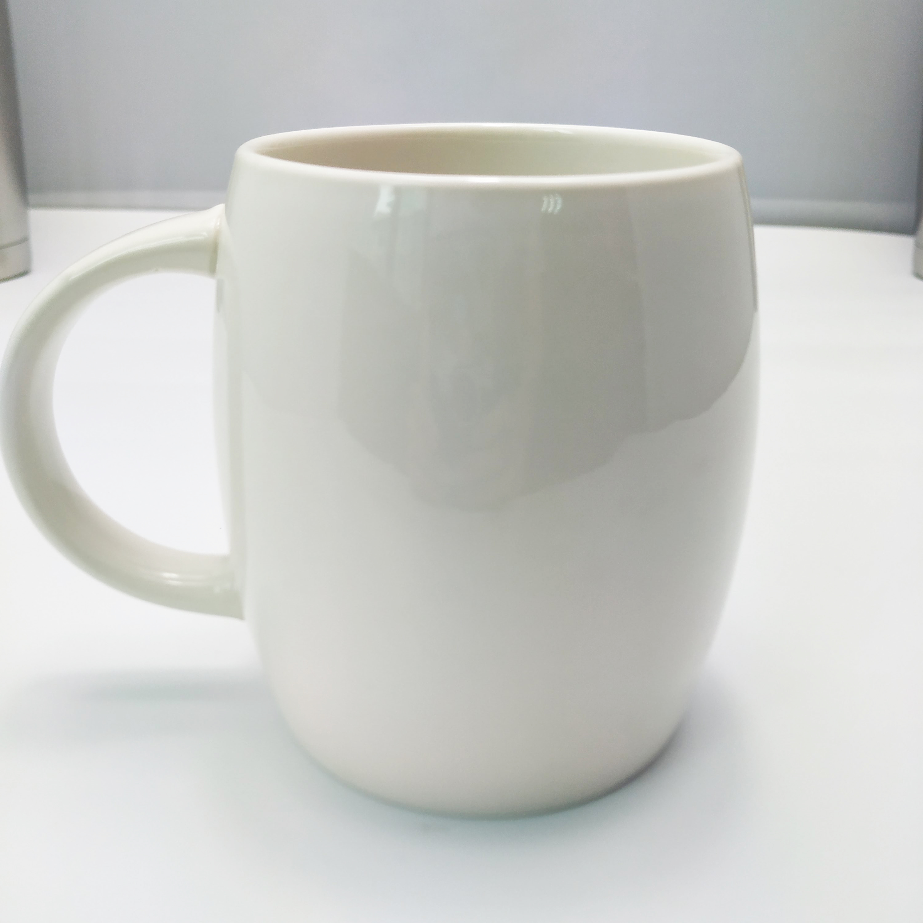 Promotional Gifts White Barrel Coffee Mug Plain High Quality 400ml Porcelain Barrel Shape Mug For Coffee Shop