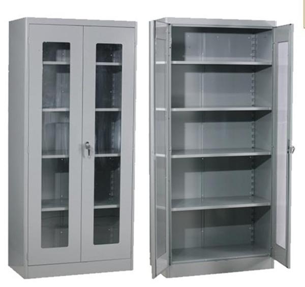 Two Glass Door Metallic Cabinet 5 Tier Inside Cupboard Kitchen