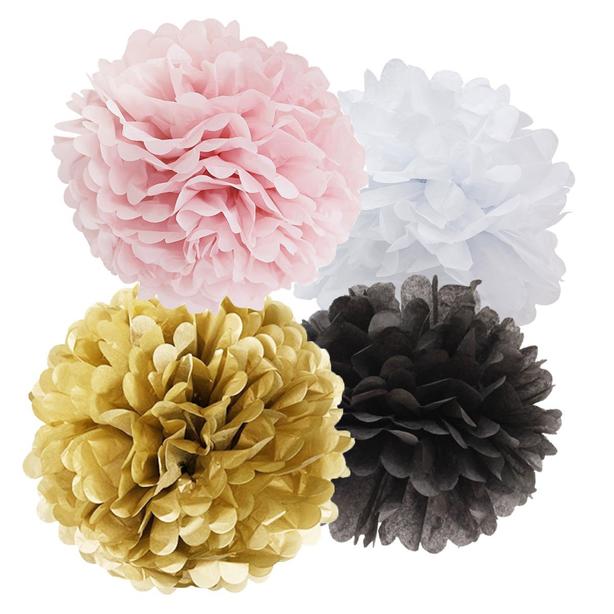 Buy 16pcs Tissue Paper Pom Pom White Pink Gold Black Paper Flower