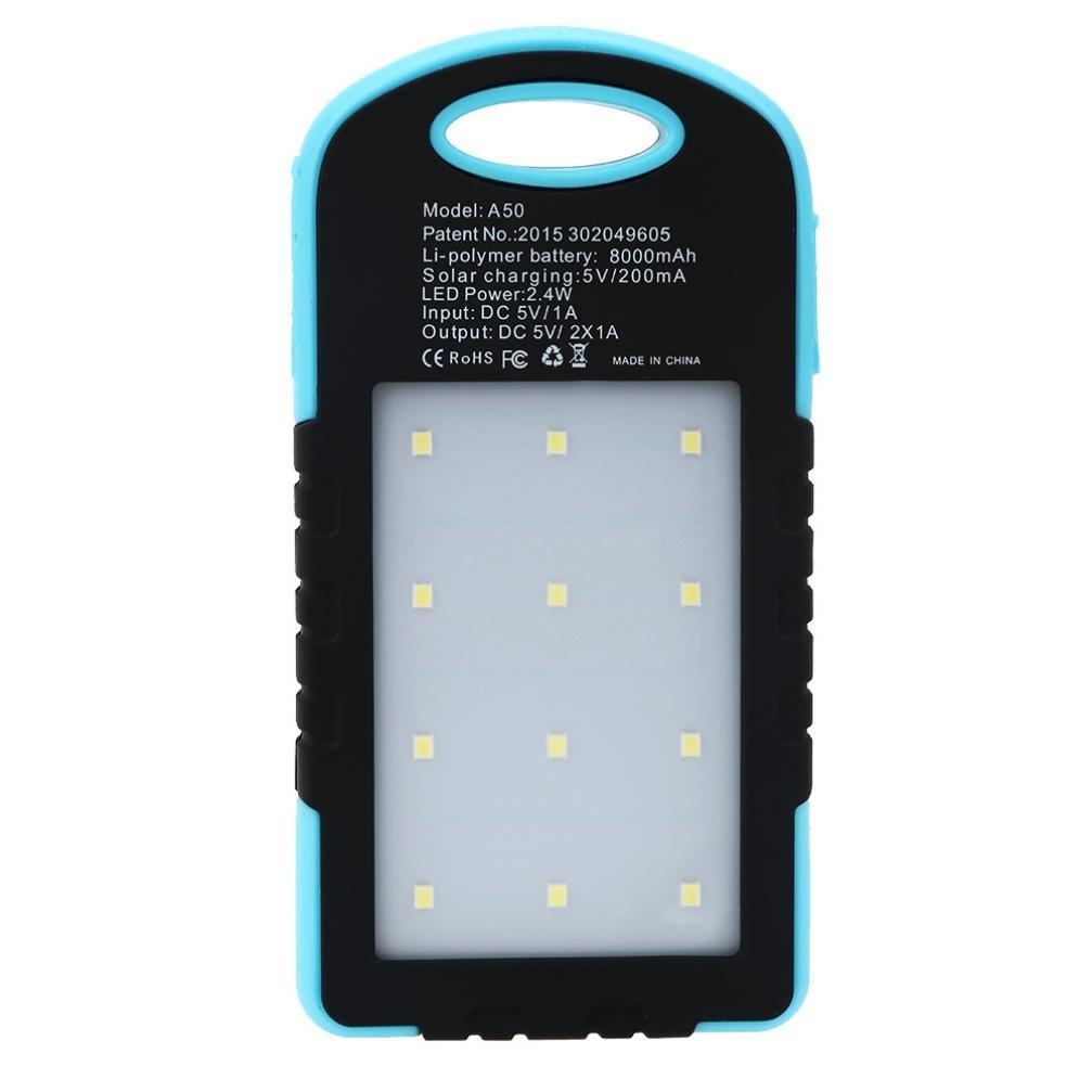 Gotd 10000mAh Portable Solar Charger LED Dual USB External Battery Power Bank, Blue