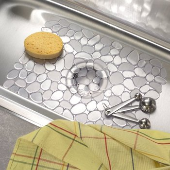 Deluxe Non Slip Scratch Protector Plastic Pebble Kitchen Sink Mat With  Drain Holes