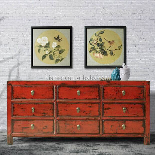 Luxury art works living room side cabinet with drawers  Classic wood board storage Art Works Living Room Side Cabinet With Drawers