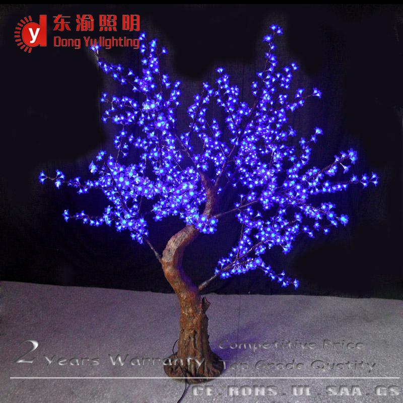 azul claro flor natural tronco led decorativa luz de la navidad rbol