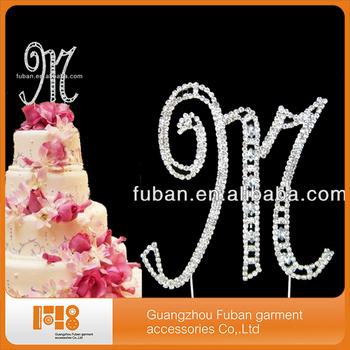 Wholesale Letter M Rhinestone Wedding Cake Topper For Cheap Cake ...