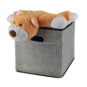 Hot sale amazon grey linen fabric collapsible cardboard storage boxes bins organizer for clothes and kids children toys
