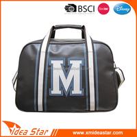 High quality handbag manufacturers china PU leather duffle bag black
