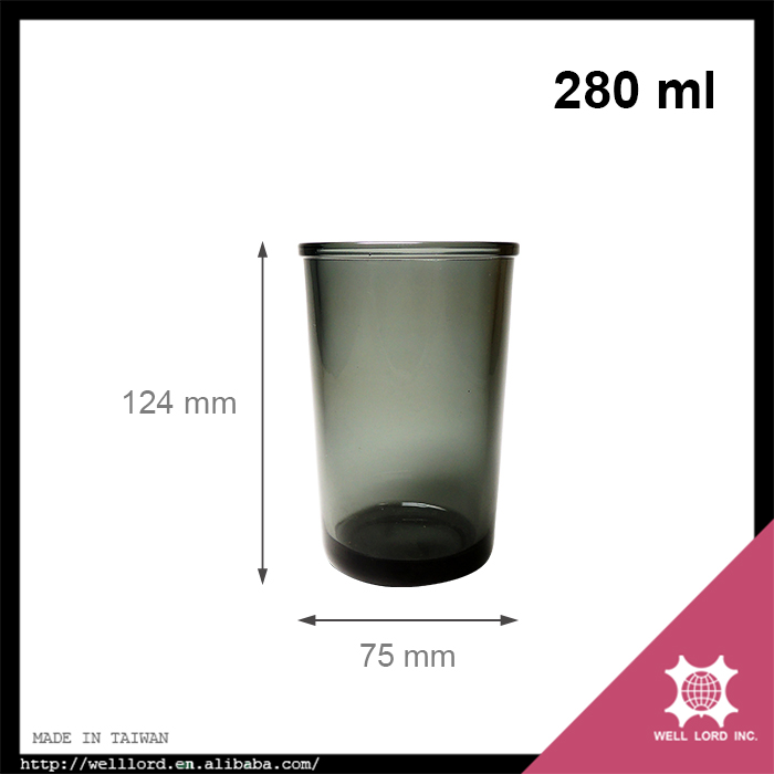 Simply perfect 280ml black color clear glass candle jar wholesale