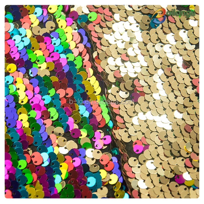 9f4278b0 Rainbow And Gold Sequin Fabric Reversible Stretch Sequin Fabric ...