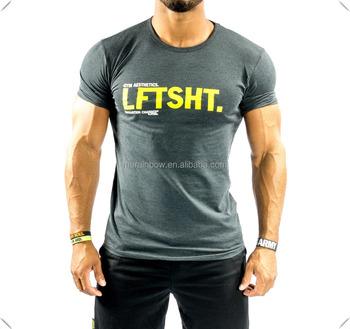 Wholesale Charcoal Bodybuilding Gym Fitness T Shirt Custom