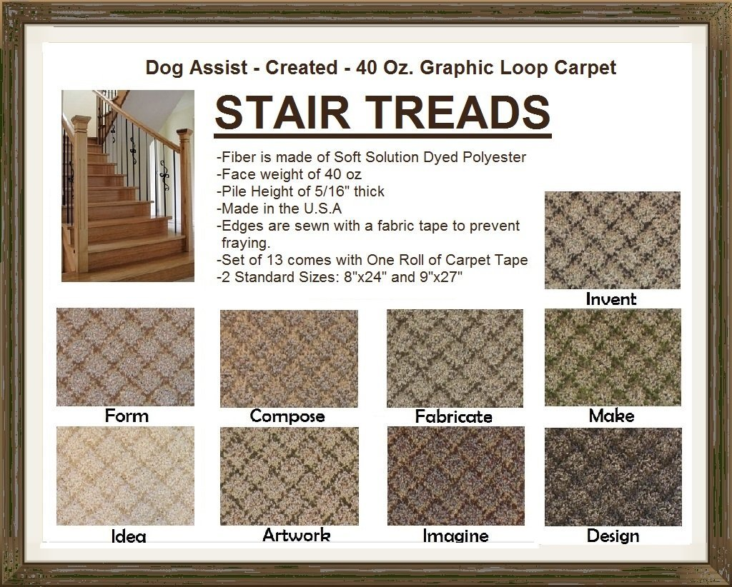 "9""x27"" Dog Assist Carpet Stair Treads - CREATED 40 oz. Graphic Loop - Set of 13 w/ 1 Roll Carpet Tape (#7 Make)"