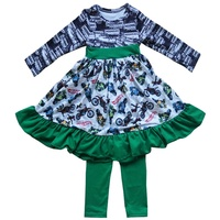 Wholesale Children Boutique Ruffle Clothing Sets Persnickety Baby Girls Remake Flower Dress & Navy Pants Winter Sets