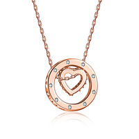 Popular Necklace Double Circle Hollow Heart shape Pendant Inlaid Zircon Sweet Clavicle Chain
