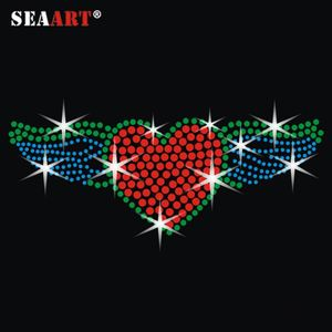 Beautiful Red Heart And Green Wings Design Rhinestone Motif Transfer For Garment