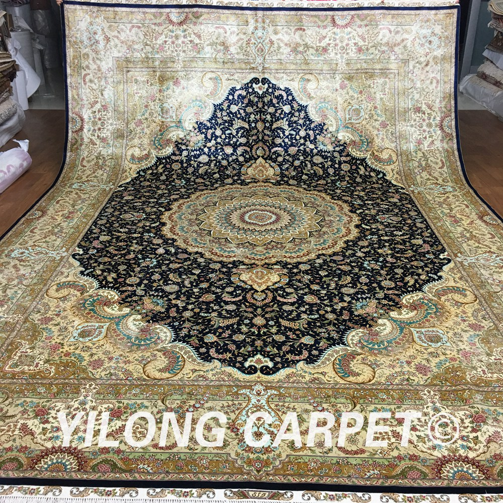 Yilong 10'x14' New 2017 natural silk best handmade rug blue silk persian carpet