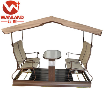 4 Seat Sling Swing Chair Outdoor Garden Swing Set With Table For 4 Person