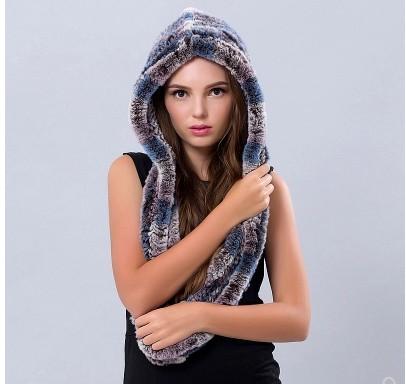 2018 real rex rabbit fur muffler fur hooded scarf