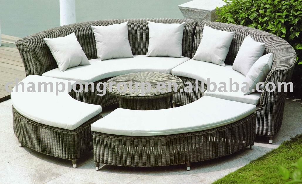 Garden Set Rattan Round Dining With Cushion Sofa Outdoor Leisure Product On Alibaba