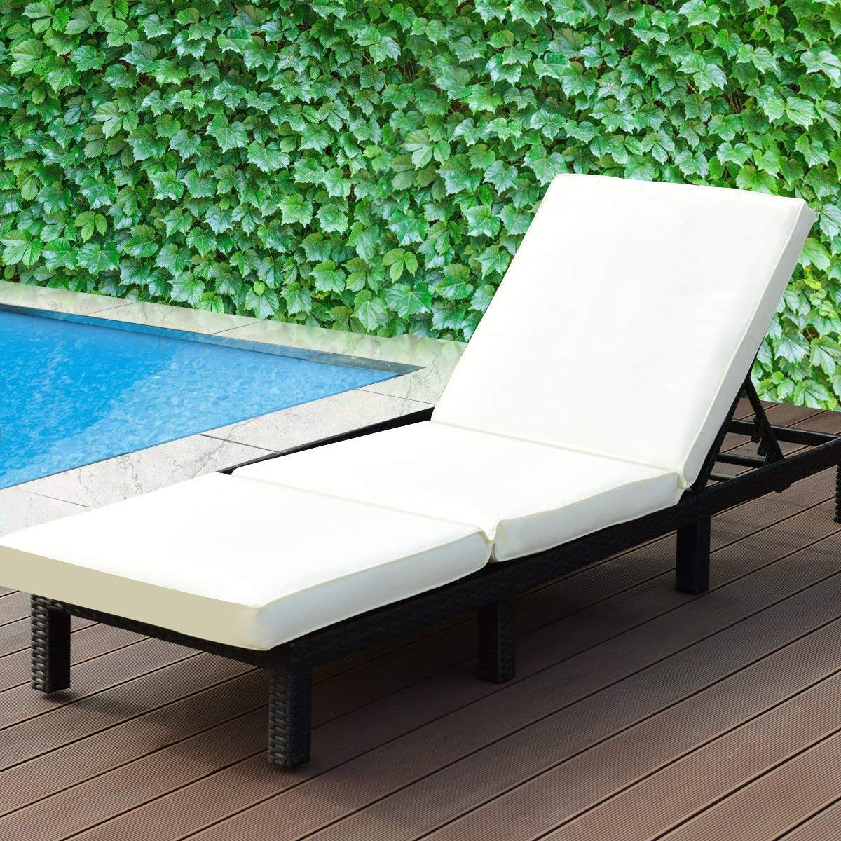 KCHEX>Patio Adjustable Wicker Chaise Lounge Poolside Couch Furniture with Cushion>This is Our Outdoor Adjustable Patio Pool Chaise Lounge, which is Really Utility and Functional for Your Daily Life.