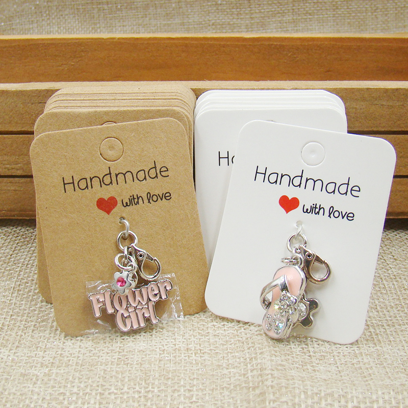 2design Necklace Pendant Display Card Printed Handmade With Love Size 5 7cm Jewelry Card 100pcs Card 100pcs Opp Bag Matching